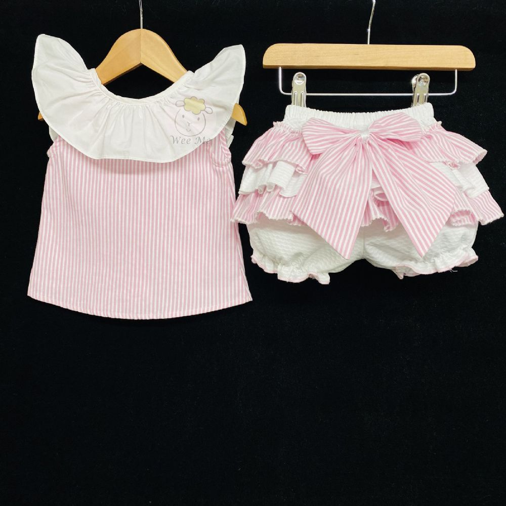 New Baby Girl Pink Candy Stripe Bloomer Blouse Set